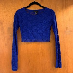 Royal Blue Long Sleeve Lace Crop Top